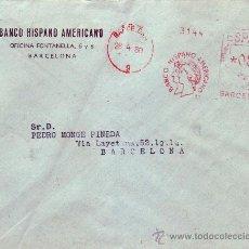 Sellos: FRANQUEO MECANICO BANCO HISPANO AMERICANO EN CARTA CIRCULADA 1960 BARCELONA INTERIOR. MPM.. Lote 9672681