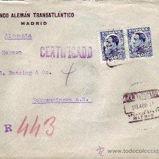 Sellos: ALFONSO XIII VAQUER PERFIL (PAREJA) CON PERFORACION BANCO ALEMAN TRANSATLANTICO EN CERTIFICADO 1931.. Lote 23093860