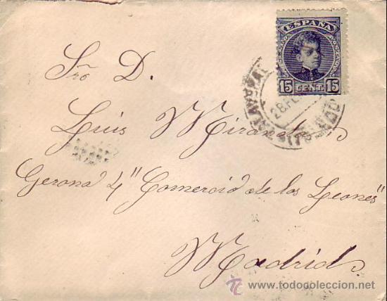ALFONSO XIII CADETE EN CARTA CIRCULADA 1902 DE TALAVERA DE LA REINA (TOLEDO) A MADRID. LLEGADA. MPM. (Sellos - Historia Postal - Sello Español - Sobres Circulados)