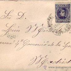 Sellos: ALFONSO XIII CADETE EN CARTA CIRCULADA 1902 DE TALAVERA DE LA REINA (TOLEDO) A MADRID. LLEGADA. MPM.. Lote 9700774