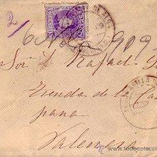 Sellos - ALFONSO XIII CADETE EN CARTA CIRCULADA 1909 ARGAMASILLA DE ALBA (CIUDAD REAL)-VALENCIA. LLEGADA. - 9700824