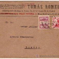 Sellos: HISTORIA POSTAL SOBRE CIRCULADO TOMAS REMEU CON SELLO ESPAÑOL Y DE BARCELONA CIRCULADA 1930. Lote 26299812
