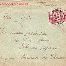 Sellos: ISABEL LA CATOLICA EN CARTA CIRCULADA 1938 DE VITORIA (ALAVA) A FRANCIA. CENSURA MILITAR. LLEGADA.. Lote 14304503