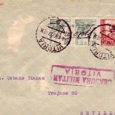 Sellos: EL CID CORREO URGENTE (MANUSCRITO) EN FRONTAL CARTA 1937 DE VITORIA (ALAVA) A SEVILLA CON C.M. RARO.. Lote 25956244