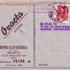Sellos: CARTA COMERCIAL (OZAETA REPRESENTACIONES) CIRCULADA 1938 VITORIA (ALAVA)-CESTONA. CENSURA MILITAR. Lote 26004864