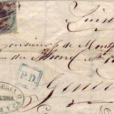 Sellos: CARTA CIRCULADA NOVIEMBRE DE 1868 DE BARCELONA A SUIZA, FRANQUEADA EDIFIL 100 (50% CATALOGO). Lote 23286370