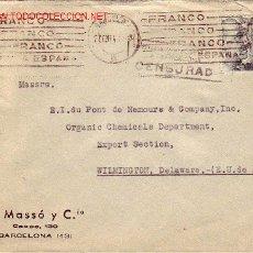 Sellos: MATASELLOS DE RODILLO PATRIOTICO EN CARTA R MASSO Y CIA 1941 DE BARCELONA A EEUU. MPM.. Lote 2945601