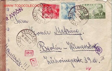 GENERAL FRANCO 45 CTS SANCHEZ TODA EN CARTA CIRCULADA POR AVION 1942 DE BARCELONA A BERLIN. RARA. (Sellos - Historia Postal - Sello Español - Sobres Circulados)