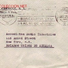 Sellos: CARTA CIRCULADA 1935 DE BARCELONA A NUEVA YORK CON 686 EDIFIL Y MATASELLOS FERIA BARCELONA.. Lote 25439512