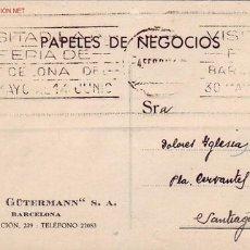 Sellos: TARJETA COMERCIAL CIRCULADA 1936 DE BARCELONA A SANTIAGO COMPOSTELA CON MATASELLOS FERIA. Lote 26531745