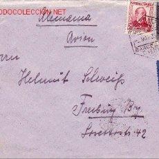 Sellos: REPUBLICA ESPAÑOLA CARTA CIRCULADA POR AVION 1933 DE BARCELONA A ALEMANIA ETIQUETA AZUL CORREO AEREO. Lote 25439513