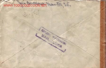 Sellos: GENERAL FRANCO 45 CTS SANCHEZ TODA EN CARTA CIRCULADA POR AVION 1942 DE BARCELONA A BERLIN. RARA. - Foto 2 - 24963251