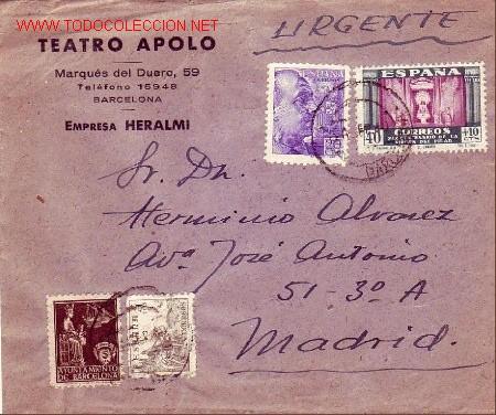 VIRGEN DEL PILAR (EDIFIL 893) Y OTROS EN CARTA CIRCULADA 1940 CORREO URGENTE BARCELONA-MADRID. RARA. (Sellos - Historia Postal - Sello Español - Sobres Circulados)