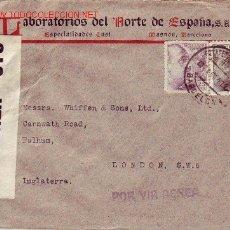Sellos: CENSURAS ESPAÑOLA E INGLESA EN CARTA CIRCULADA 1941 DE BARCELONA A LONDRES POR VIA AEREA.. Lote 11541176