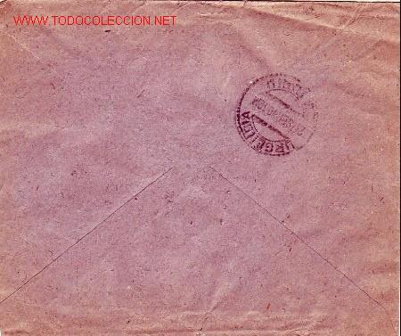 Sellos: VIRGEN DEL PILAR (EDIFIL 893) Y OTROS EN CARTA CIRCULADA 1940 CORREO URGENTE BARCELONA-MADRID. RARA. - Foto 2 - 25033639
