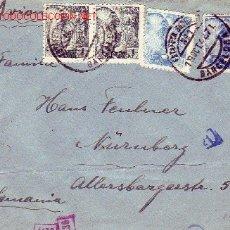 Sellos: GENERAL FRANCO TRICOLOR EN CARTA CIRCULADA POR CORREO AEREO 1942 DE BARCELONA A ALEMANIA. CENSURA.. Lote 25486170