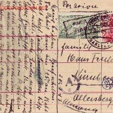 Sellos: TARJETA CIRCULADA 1943 DE BARCELONA A ALEMANIA. FRANQUEO BICOLOR (45 CTS. SANCHEZ TODA). CENSURA.. Lote 24101423