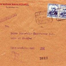 Sellos: BANCO ALEMAN TRANSATLANTICO FRONTAL CARTA CORREO CERTIFICADO 1934 DE BARCELONA A CHECOSLOVAQUIA MPM. Lote 2991477