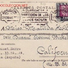 Sellos: TARJETA CIRCULADA 1946 DE BARCELONA A ESTADOS UNIDOS. FRANQUEO 40 CTS. PILAR SANCHEZ TODA. Lote 26466629