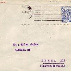 Sellos: RARO MATASELLOS MUDO DE NUEVE LINEAS EN CARTA CIRCULADA 1949 DE BARCELONA A CHECOSLOVAQUIA. LLEGADA.. Lote 25537822