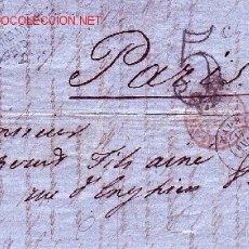 Sellos: CARTA CIRCULADA 1862 DE MADRID A PARIS CON FRANQUEO 12 CUARTOS (EDIFIL 53) MENOS 50% CATALOGO.. Lote 27362323