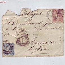 Sellos: CARTA CIRCULADA 1866 MADRID A PORTUGAL CON DOS CUARTOS Y CUATRO CUARTOS (EDIFIL 80-81) OCASION. Lote 23539441