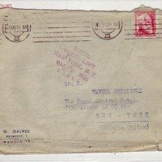 Sellos: VARIOS PROTOCOLOS DE ADMISION Y RECHAZO EN CARTA CIRCULADA 1936 DE MADRID A NUEVA YORK. RARA ASI.. Lote 24101516