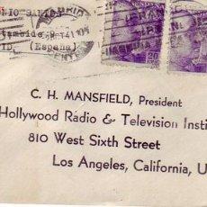 Sellos: RODILLO PATRIOTICO Y GENERAL FRANCO CARTA CIRCULADA 1941 MADRID-LOS ANGELES (USA) BANDA CENSURA. MPM. Lote 11873497