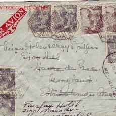 Sellos: CARTA CIRCULADA POR CORREO AEREO 1941 DE MADRID A ESTADOS UNIDOS. REEXPEDIDA. CENSURA.. Lote 24101535