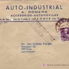 Sellos: AUTO INDUSTRIAL A. ROMERO FRONTAL DE CARTA COMERCIAL 1939 DE CADIZ A SEVILLA. CENSURA MILITAR. MPM.. Lote 3026626