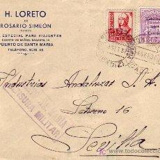 Sellos: RARO FRANQUEO ENVASES EN CARTA H LORETO DE ROSARIO SIMEON 1937 PUERTO SANTA MARIA (CADIZ) A SEVILLA.. Lote 25537917