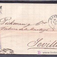 Sellos: .530 CARTA CADIZ A SEVILLA FRANQUEO 107, MATASELLO PARRILLA Nº 3 Y SOBRE PLIEGO FECHADOR TIPO I . Lote 10780350