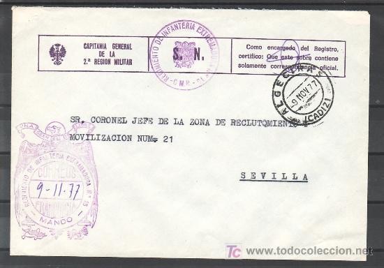 .559 SOBRE ALGECIRAS (CADIZ) A SEVILLA, CON FRANQUICIA -CAPITANIA GENERAL DE LA 2ª REGION MILITAR- + (Sellos - Historia Postal - Sello Español - Sobres Circulados)