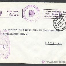 Sellos: .559 SOBRE ALGECIRAS (CADIZ) A SEVILLA, CON FRANQUICIA -CAPITANIA GENERAL DE LA 2ª REGION MILITAR- +. Lote 10780461