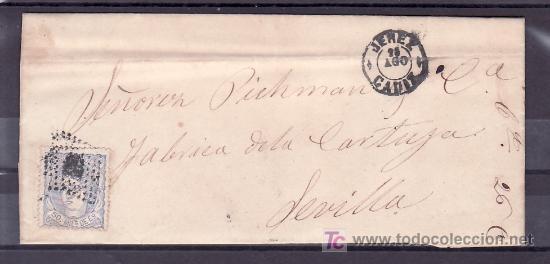 .567 CARTA JEREZ (CADIZ) A SEVILLA FRANQUEO 107, MATASELLO ROMBO DE PUNTOS Y SOBRE PLIEGO FECHADOR + (Sellos - Historia Postal - Sello Español - Sobres Circulados)