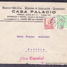 Sellos: .575 SOBRE JEREZ (CADIZ) A SEVILLA FRANQUEO 823T (PIE SIN HIJA) Y LOCAL G161 MATASELLADOS 14 FEB. 37. Lote 10780479