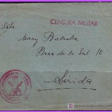 Sellos: CARTA COMPLETA FRANQUICIA REGIMIENTO DE TRANSMISIONES (VALENCIA) A LÉRIDA, CENSURA MILITAR. Lote 9901163