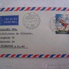 Sellos: SOBRE CIRCULADO CON MATASELLOS IBERFLORA 1972, SELLO OLIMPIADA MUNICH 1972. Lote 9999549