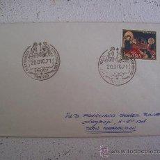 Sellos: SOBRE CIRCULADO CON MATASELLOS 1ª EXPOSICION HISPANOAMERICANA BELENES, MADRID 1971. Lote 9999608