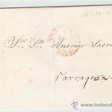 Sellos: ENVUELTA DE CARTA TARRAGONA 1845. Lote 27567632