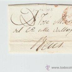 Sellos: ENVUELTA DE CARTA REUS 1845. Lote 27567661