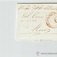 Sellos: ENVUELTA DE CARTA REUS 1845. Lote 27567667