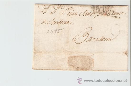 ENVUELTA DE CARTA BARCELONA 1815 (Sellos - Historia Postal - Sello Español - Sobres Circulados)