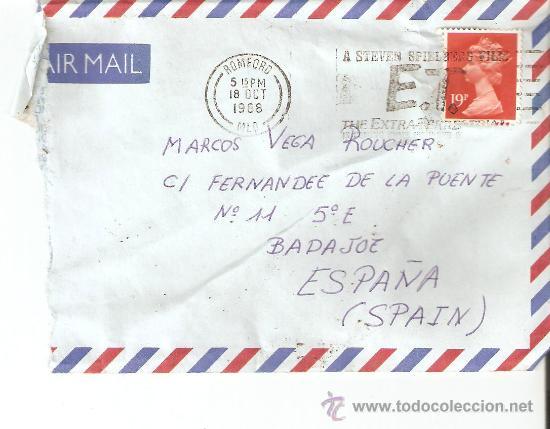 SOBRE REINO UNIDO.MATASELLOS-A STEVEN SPIELBERG FILM.E.T. THE EXTRATERRESTRIAL-1988 (Sellos - Historia Postal - Sello Español - Sobres Circulados)