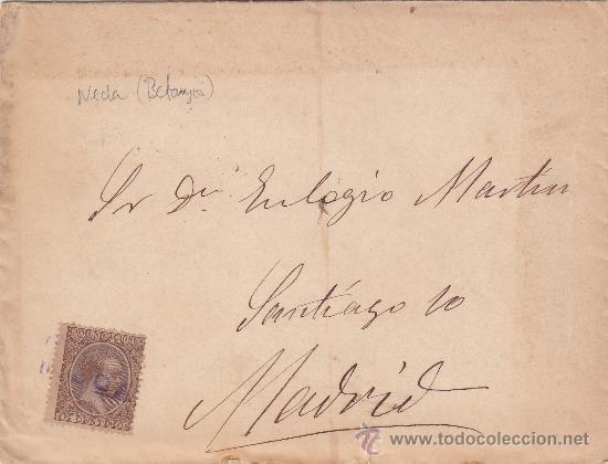 CARTA CIRCULADA 29 MAYO 1900 DE BETANZOS-NEDA (A CORUÑA) A MADRID, CON MATASELLOS DE CARTERIA. (Sellos - Historia Postal - Sello Español - Sobres Circulados)