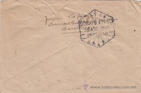 Sellos: FLECHAS BURGOS RARO MATASELLOS TRANSITO CARTA CIRCULADA 1938 DE BARCELONA A MONFORTE-INCIO (LUGO). - Foto 2 - 27459378
