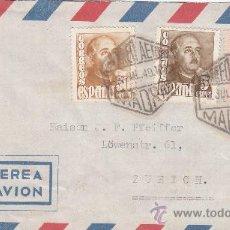 Sellos: GENERAL FRANCO TRICOLOR EN CARTA CIRCULADA 1949 CORREO AEREO MADRID A ZURICH (SUIZA). MPM.. Lote 11874122