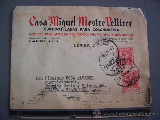 SOBRE CIRCULADO CASA MIGUEL MESTRE PELLICER, FABRICA DE CURTIDOS, LERIDA,1944 (SELLO AÑO SANTO 1943) (Sellos - Historia Postal - Sello Español - Sobres Circulados)