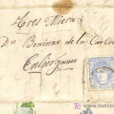 Sellos: CARTA CIRCULADA A LIÉRGANES, SANTANDER, EN 1871, CON SELLO EDIFIL 107, SOBRE CONTRATA DE OBRAS. Lote 26456399