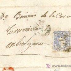 Sellos: CARTA CIRCULADA A LIÉRGANES, SANTANDER, EN 1872, CON SELLO EDIFIL 107, SOBRE CONTRATA DE OBRAS. Lote 26456400